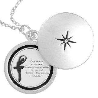 Locket 2 inspirador da dança preta do quadro colar banhado a prata