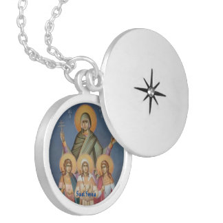 Locket chapeado de Sophia do santo prata redonda Colar Banhado A Prata