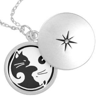 Locket dos gatos de Yin Yang Colar Medalhão