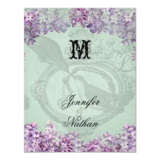 Locket dos Lilacs do vintage que Wedding o cartão Convite 10.79 X 13.97cm