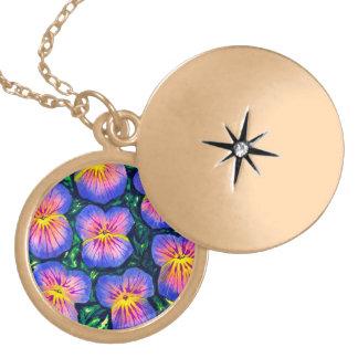 Locket floral bonito da colar da aguarela do amor