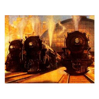 Locomotivas triplas no CARTÃO da estação