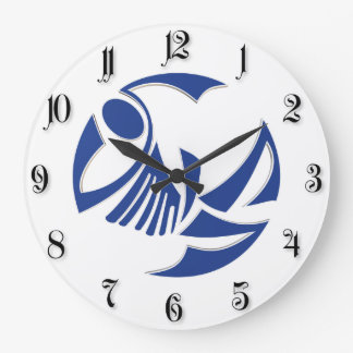 Logotipo abstrato dos peixes azuis relógios para pendurar