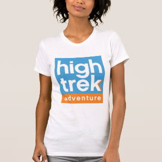 Logotipo alto da aventura do passeio na montanha t-shirt