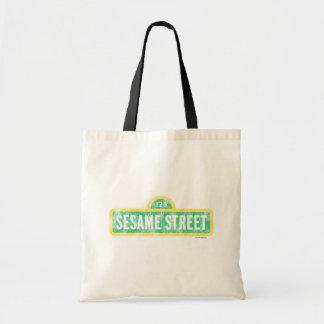 Logotipo amarelo do sinal do Sesame Street Sacola Tote Budget