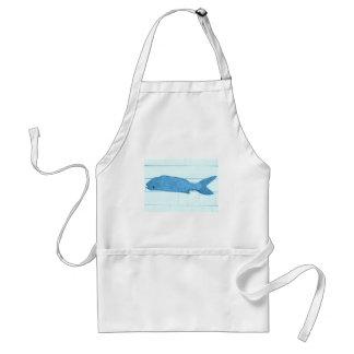 logotipo azul dos peixes avental