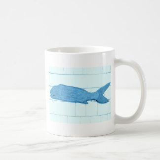 logotipo azul dos peixes caneca