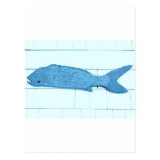 logotipo azul dos peixes cartão postal