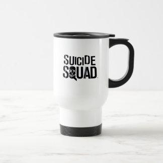 Logotipo branco do pelotão | do suicídio caneca térmica