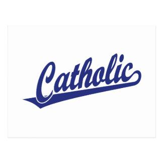 Logotipo católico do roteiro no azul cartao postal