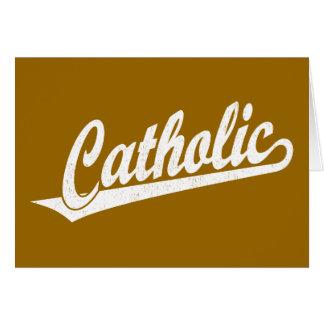 Logotipo católico do roteiro no branco afligido cartão comemorativo