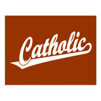 Logotipo católico do roteiro no branco cartões postais