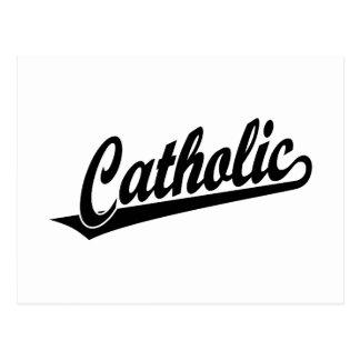 Logotipo católico do roteiro no preto cartao postal