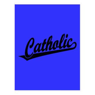 Logotipo católico do roteiro no preto cartão postal