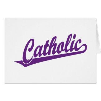 Logotipo católico do roteiro no roxo cartao