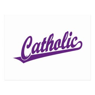 Logotipo católico do roteiro no roxo cartao postal