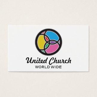 Logotipo colorido do vitral da trindade dos peixes cartão de visitas