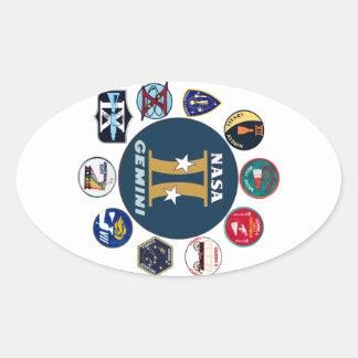 Logotipo comemorativo dos Gêmeos Adesivos Em Formato Oval