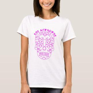 Logotipo cor-de-rosa do crânio do açúcar camiseta