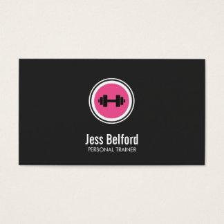 Logotipo cor-de-rosa do Dumbbell, instrutor Cartão De Visitas