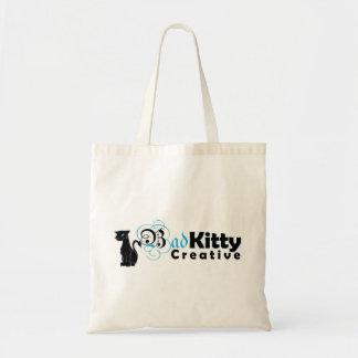Logotipo criativo do gatinho mau bolsa de lona
