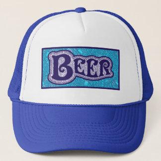 Logotipo da cerveja - olhar azul da textura boné