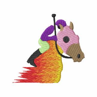 Logotipo da corrida de cavalos agasalho jogger de lã bordado
