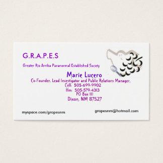 Logotipo das UVAS, Marie Lucero, caixa postal 111, Cartão De Visitas