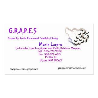 Logotipo das UVAS, Marie Lucero, caixa postal… - Cartão De Visita
