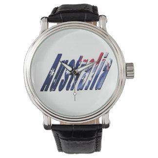 Logotipo de Austrália, relógio do couro dos homens