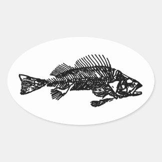 Logotipo de esqueleto dos peixes (preto) adesivo oval