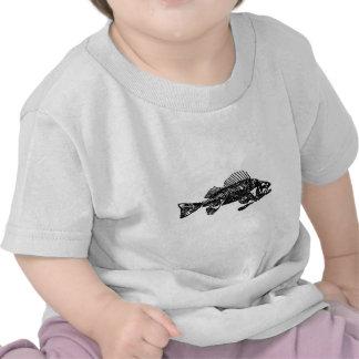 Logotipo de esqueleto dos peixes (preto) tshirt