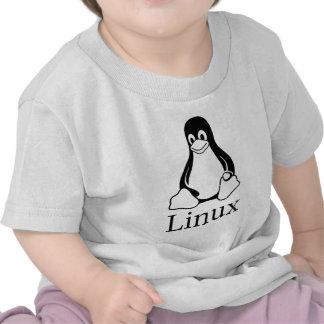 Logotipo de Linux com Tux o pinguim de Linux Camisetas