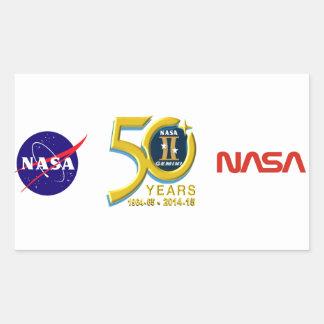 Logotipo do aniversário dos Gêmeos 50th Adesivo Em Forma Retangular