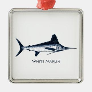 Logotipo do espadim branco ornamento para arvores de natal