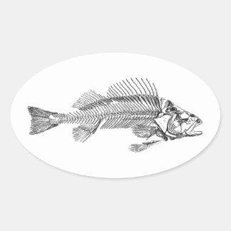 Logotipo do esqueleto dos peixes adesivo oval