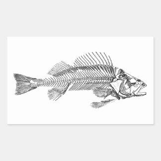 Logotipo do esqueleto dos peixes adesivo retangular