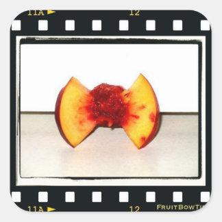 Logotipo do laço da fruta adesivos quadrados
