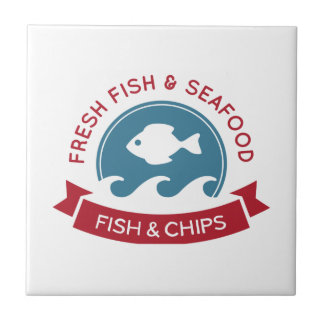 Logotipo do marisco do peixe com batatas fritas azulejo