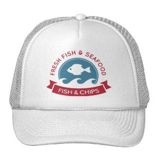 Logotipo do marisco do peixe com batatas fritas boné