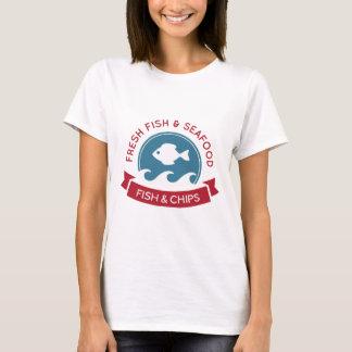 Logotipo do marisco do peixe com batatas fritas camiseta