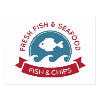 Logotipo do marisco do peixe com batatas fritas cartão postal