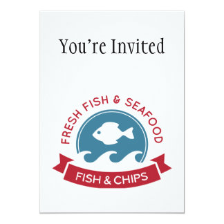 Logotipo do marisco do peixe com batatas fritas convite 12.7 x 17.78cm