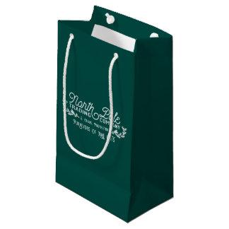 Logotipo do natal vintage da empresa comercial do sacola para presentes pequena