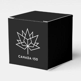 Logotipo do oficial de Canadá 150 - preto e branco Caixinha De Lembrancinhas