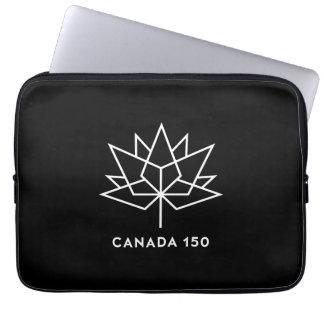 Logotipo do oficial de Canadá 150 - preto e branco Sleeve Para Laptop