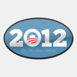 Logotipo do oficial de Obama 2012 Adesivos Em Formato Ovais