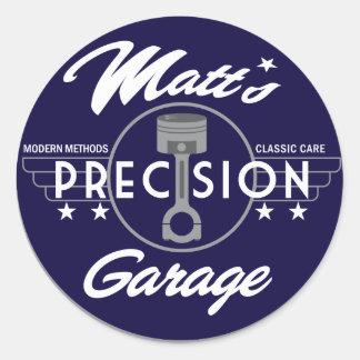 Logotipo do padrão da garagem da precisão de Matt Adesivo