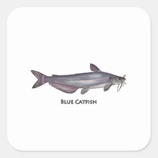 Logotipo do peixe-gato azul adesivo quadrado