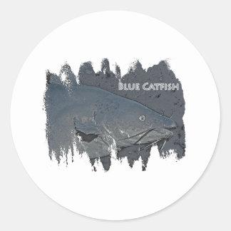 Logotipo do peixe-gato azul adesivo redondo